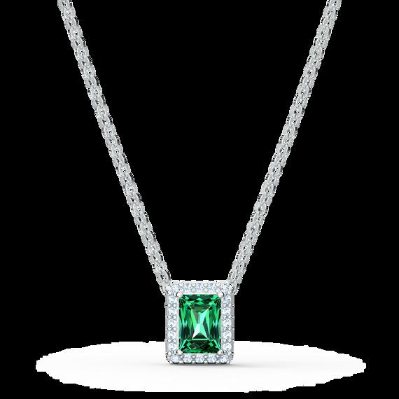 عقد Angelic مستطيل، لون أخضر، طلاء روديوم