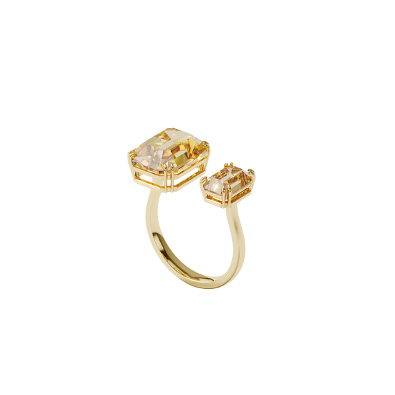 Millenia cocktail ring, Square cut crystals, Yellow, Gold-tone plated