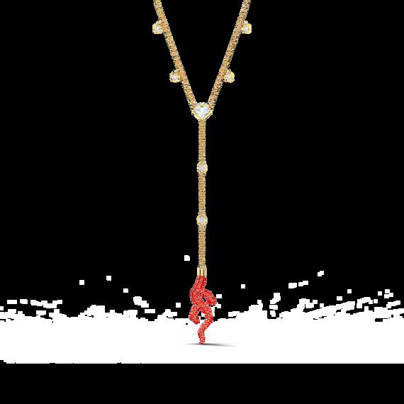 سلسلة Shell على شكل حرف Y، حمراء اللون، مطلية باللون الذهبي