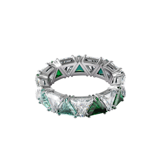 Millenia cocktail ring, Triangle cut crystals, Green, Rhodium plated