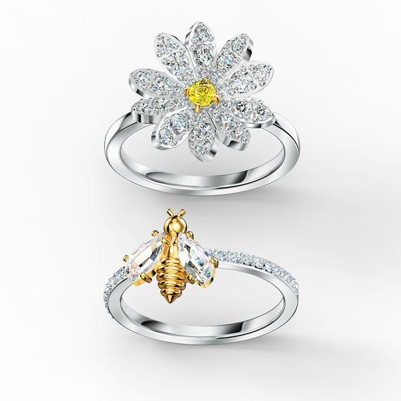 مجموعة خواتم Eternal Flower، لون أصفر، لمسة نهائية من معادن مختلطة