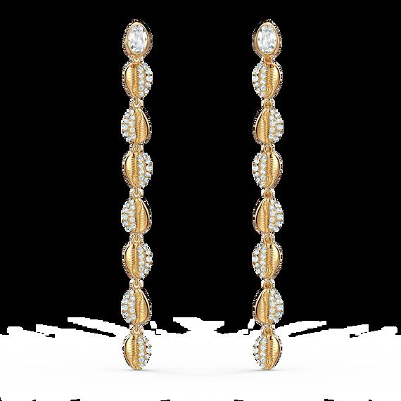 أقراط Shell Cowrie للأذن المثقوبة، بيضاء اللون، مطلية باللون الذهبي