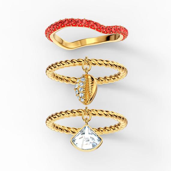 مجموعة خواتم Shell، حمراء اللون، مطلية باللون الذهبي