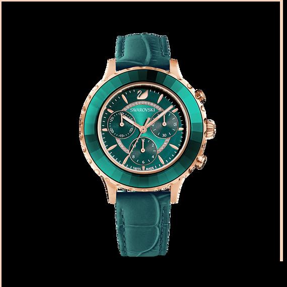 ساعة Octea Lux Chrono، حزام جلد، لون أخضر، طلاء ذهبي وردي