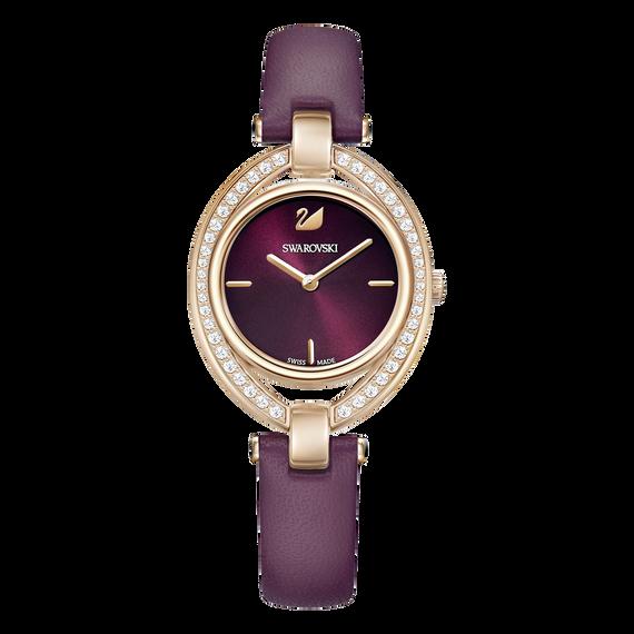 ساعة Stella، حزام جلد، لون أحمر داكن، طلاء ذهبي وردي