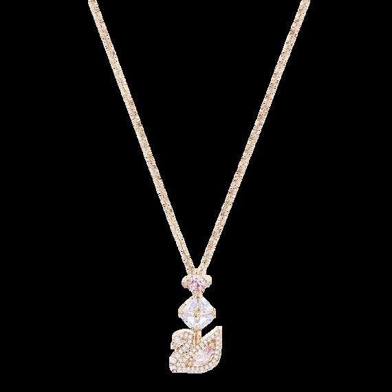 عقد Dazzling Swan على شكل حرف Y، متعدد الألوان، طلاء ذهبي وردي