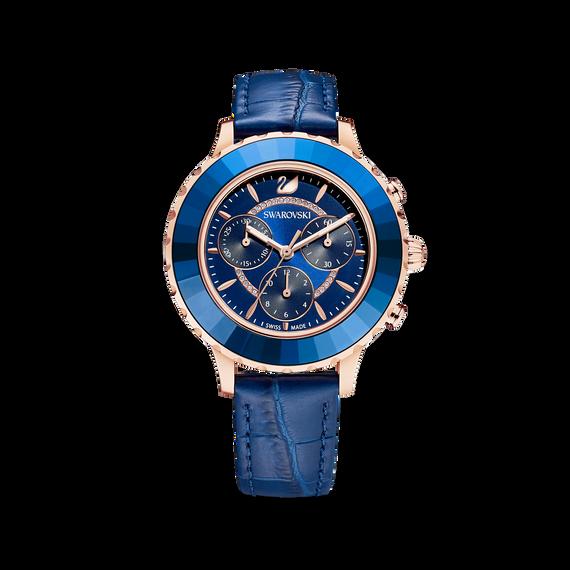 ساعة Octea Lux Chrono، حزام جلد، لون أزرق، طلاء PVD ذهبي وردي