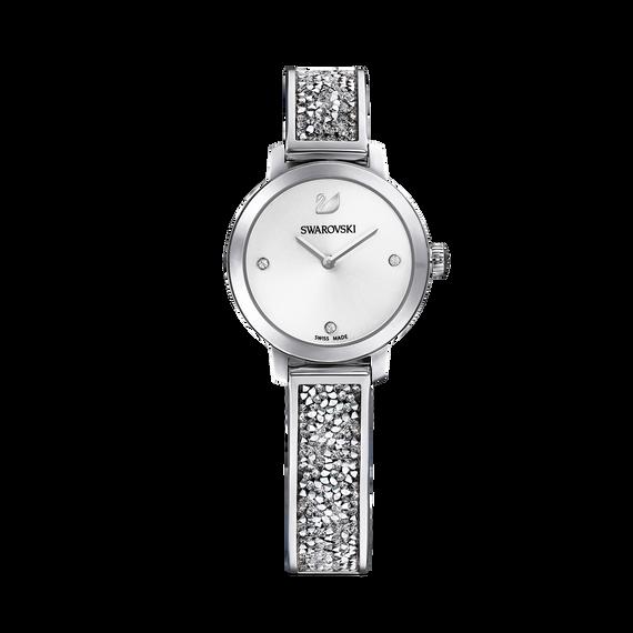 ساعة Cosmic Rock، سوار معدني، أبيض، لون فضي