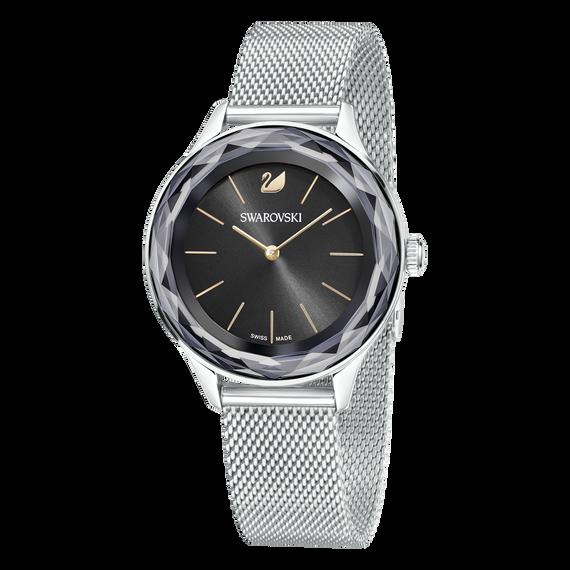 ساعة Octea Nova، سوار شبكي معدني، لون أسود، وفضي