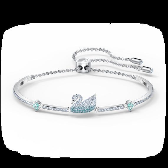إسورة Iconic Swan، لون أزرق، طلاء روديوم