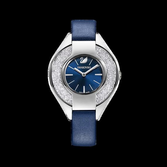 ساعة Crystalline Sporty، سوار جلد، لون أزرق، ستانلس ستيل
