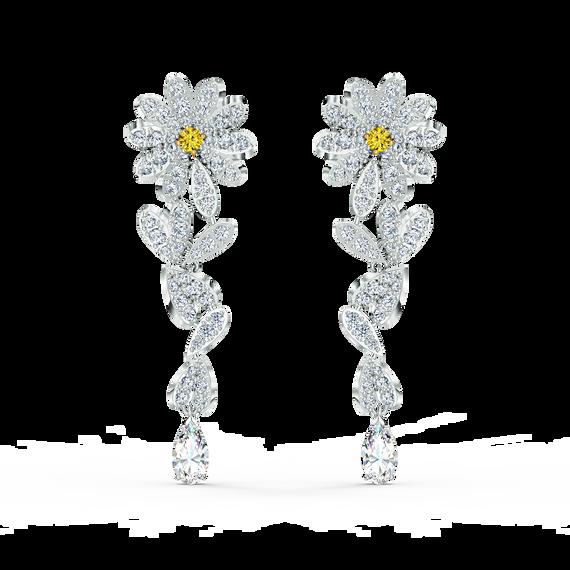 أقراط Eternal Flower للأذن المثقوبة، لون أصفر، لمسة نهائية من معادن مختلطة