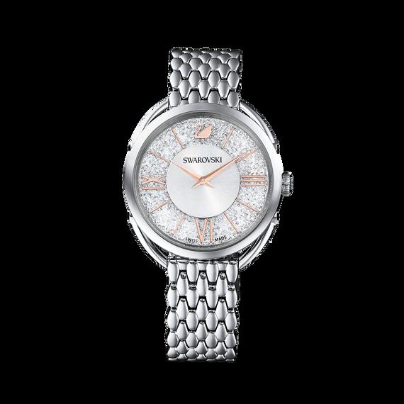 ساعة Crystalline Glam، سوار معدني، أبيض، لون فضي